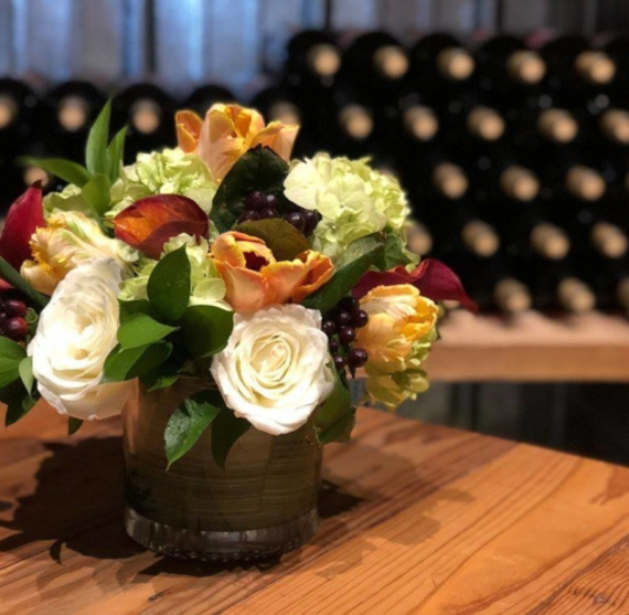 Wine down with spring flowers image