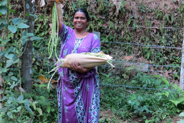 Some food for the hostel comes from a small garden plot near the hostel.  Sajini proudly displays beans she picked.