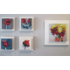 Several small paintings by  Monique Sarkessian at Mala Galleria