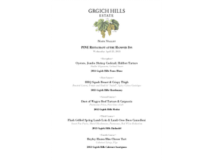 Grgich Hill Estate Tasting at PINE  - start Apr 25 2018 0600PM