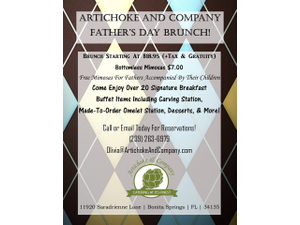 Artichoke And Company Fathers Day Brunch - start Jun 17 2018 1000AM