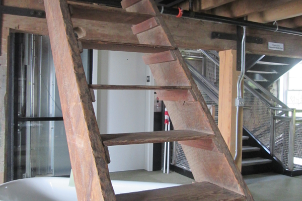 The original mill stairs were preserved as a display in the museum.