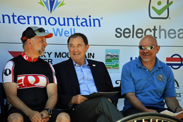 From left to right: Davis County Commissioner Bret Millburn, Utah Governor Gary Herbert, and Jeff Silvestrini. (Justin Adams | City Journals)