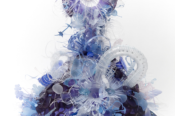 Aurora Robson, Ona, 2014, plastic debris (PET + HDPE), aluminum rivets, tinted polycrylic and mica powder, 48 x 46 x 40 inches. Courtesy of the artist.