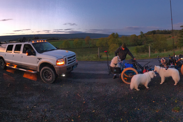 Sunset on the trail, making sure the gear is set.