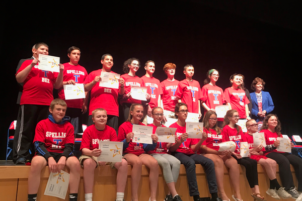 The 7th grade finalists at the TEF Townwide Spelling Bee.