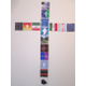 Students contributed their own painted panels to this cross