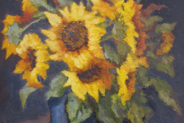 'Urn With Sunflowers' by Lidia Kohutiak.