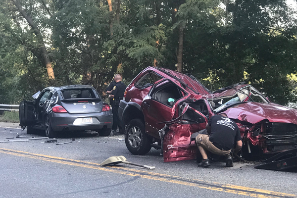 Three-car accident on Route 110 in Dracut (Bill Gilman photo)