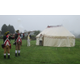 Muskets were fired near a replica of George Washingtons tent during a dedication event on Tuesday