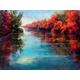 Ann Guidera-Matey uses vivid red in several of her landscapes