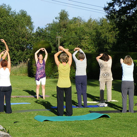 Yoga on the lawn at wyndcliffe court