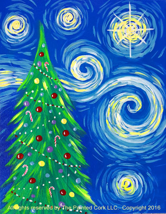 paint and sip 1130 starry christmas tree - Starry Christmas