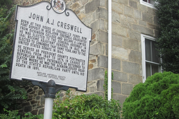 A marker stands beside the former home of John Creswell, who served as Gen. Grant's postmaster and a fixture of the Maryland Republican party.