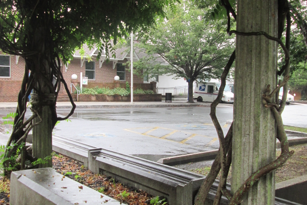 This arbor at the center of town uses pillars and blocks from the Jacob Tome Mansion, which was demolished in 1948.