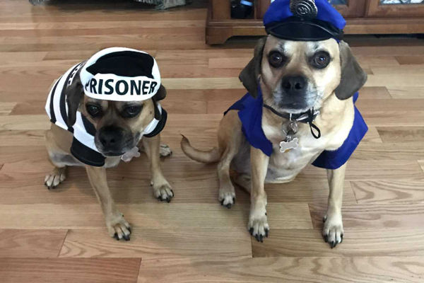 Ashley the Prisoner and Abby the Police Officer.