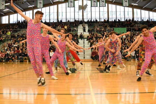 The boys have the moves as the Mance Co. performs to raise money for the Cystic Fibrosis Foundation. (Photo courtesy of Hillcrest High)