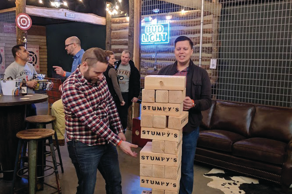 While they're not throwing, Stumpy's patrons can try their luck at giant Jenga.