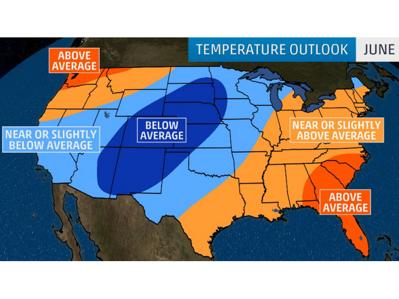 The Weather Channel: June 2019 Temperature Outlook | Boreal ...
