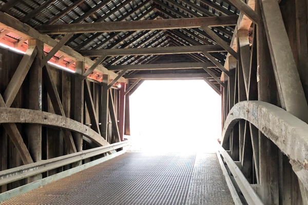 Part of the fun of exploring the trail is interacting with the covered bridge nearby