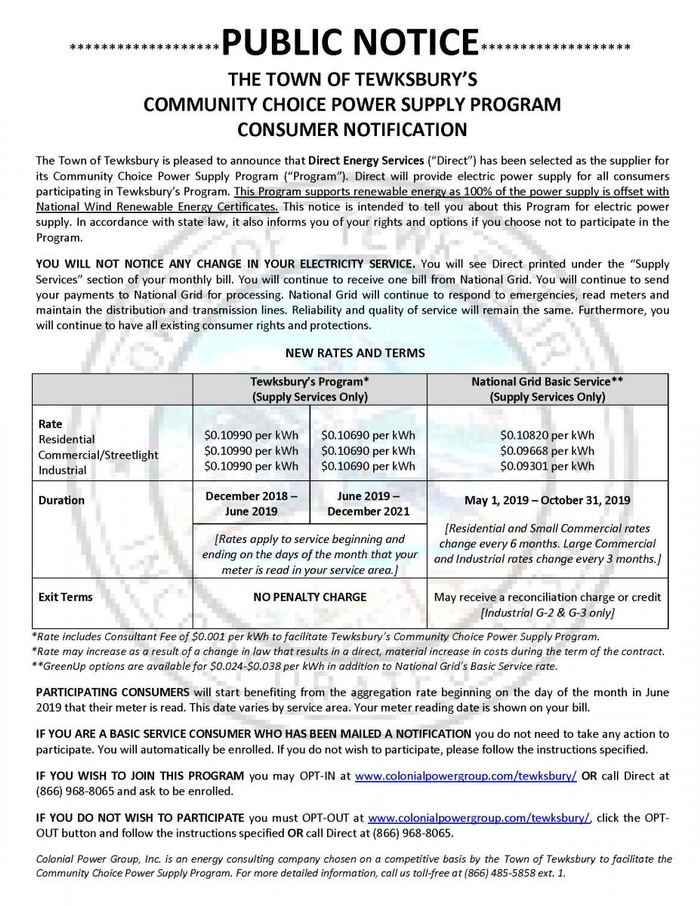 PSA: Town of Tewksbury's Community Source Power Supply Program