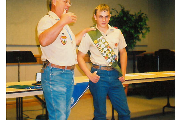 Chase's Eagle Scout presentation with Steve Blaylock