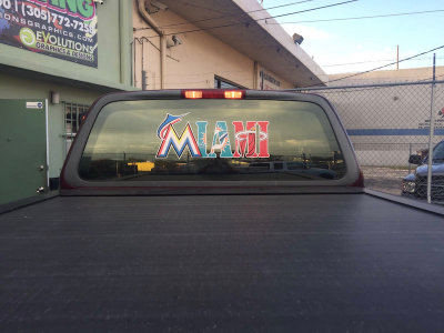 Rear window custom graphic miami