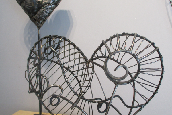 Two of Lele Galer's steel sculptures.