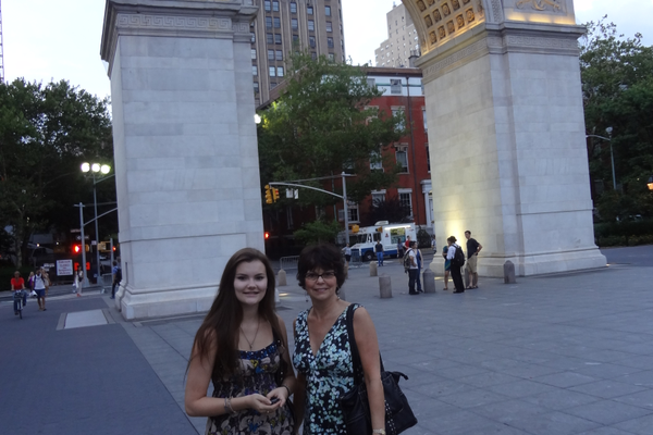 Katy and Susan at Washington Square Park in New York City