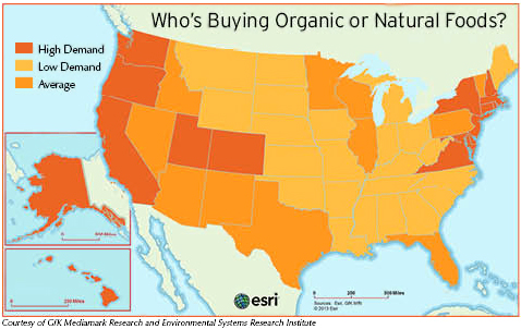 U.S. Map of Organic and Natural Food Demand by State