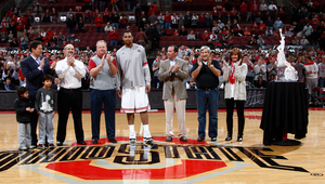 Bill third from left stands on the court at Ohio State University with 2011 Wayman Tisdale Freshman of the Year Jared Sullinger