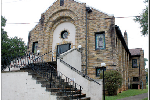 The imposing front of Hood Memorial AME Zion Church as it appears today.