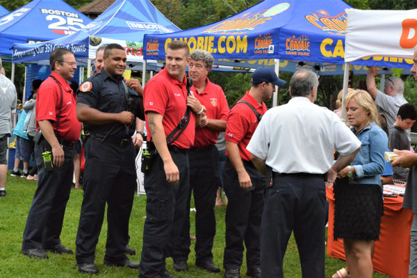 Members of Bellingham's Fire Department prepare for Zip Trip interview (photo by Jen Russo)