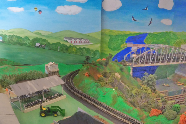 Ware resident Annette Pennington painted a backdrop in the room featuring nearby scenes.