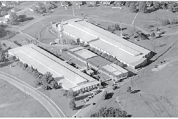 This archival aerial photo show the Acme Splinning complex during its heyday. Photo courtesy of Millican Pictorial History Museum