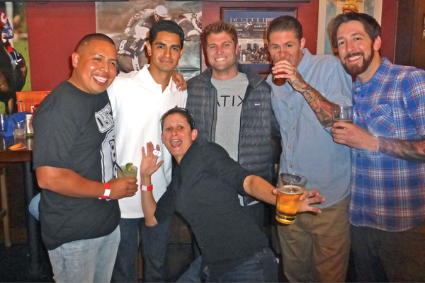 "Rainbow Sandals Christmas party at OC Tavern February 5. Paco Zombramo,  Alfredo Pintor, Scott ""Cutback"" Stewart, Sabrina Sexton, Chris Schuda, and Ryan Fahring."