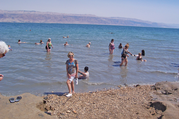 Bathers float on the Dead Sea savoring its healing properties.