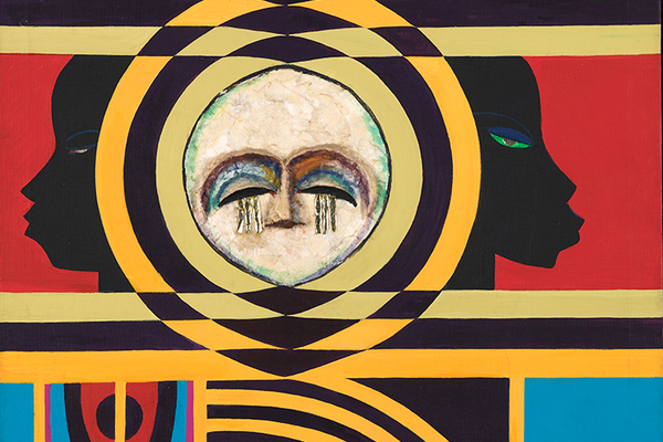 Loïs Mailou Jones, Moon Masque, 1971, oil and collage on canvas. Smithsonian American Art Museum, bequest of the artist.