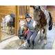Rebecca Zimble is shown in the barn between Kingsley the large horse  owned by Rebecca Tegan and ZSS mascot Squishy a miniature pony adopted from Soft Landing Rescue in Wellington Florida