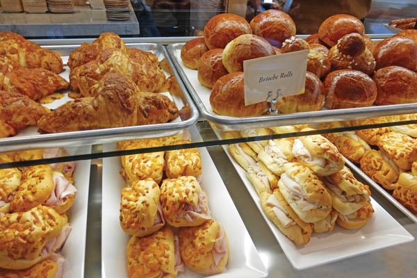 Freshly baked croissants, rolls and Palm Sandwiches.