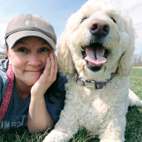 writer Lisa Lukecart and dog Izzy