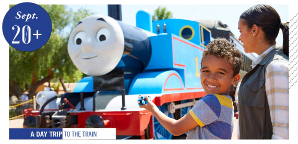 child with Thomas the Train