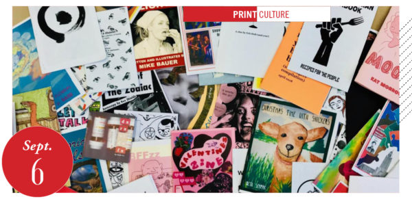 pile of zines, library zine sale