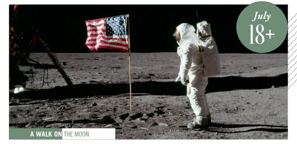 Moon landing, astronaut and flag