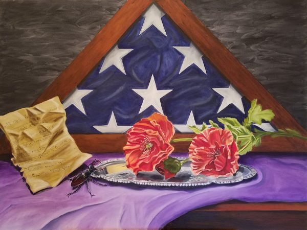 "Painting titled ""AFTER"" by Elizabeth Boutin, featuring American flag in triangle box, two roses on sliver platter, a crumpled note with writing, and a bug"