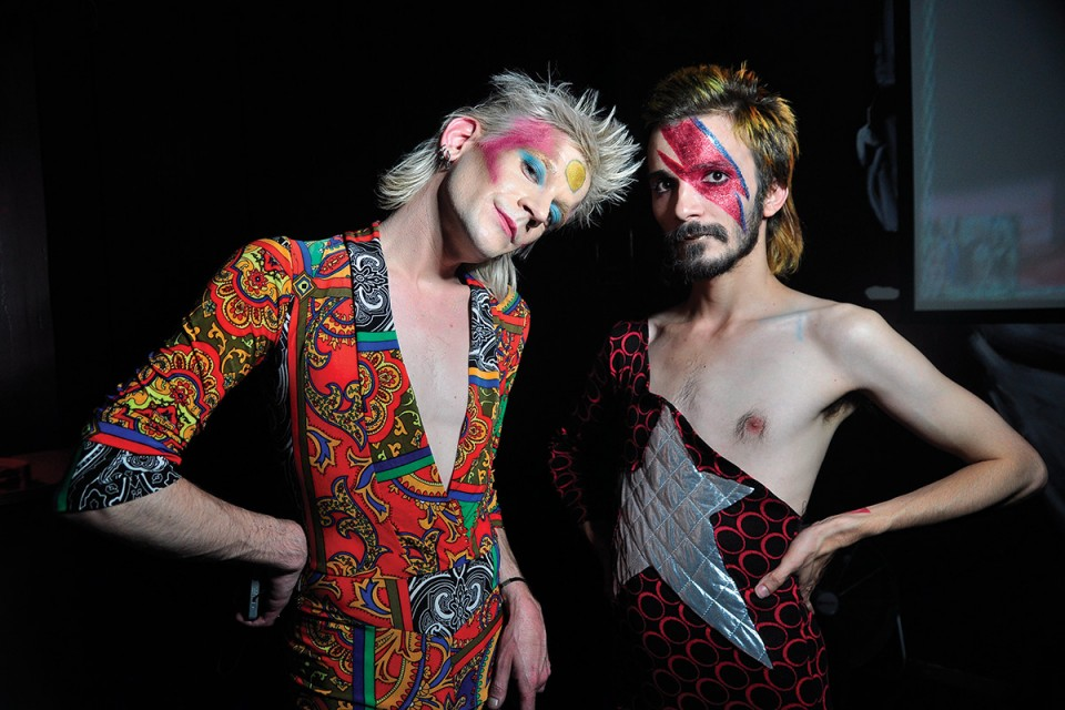 Steffan and Wassberger at their David Bowie tribute party