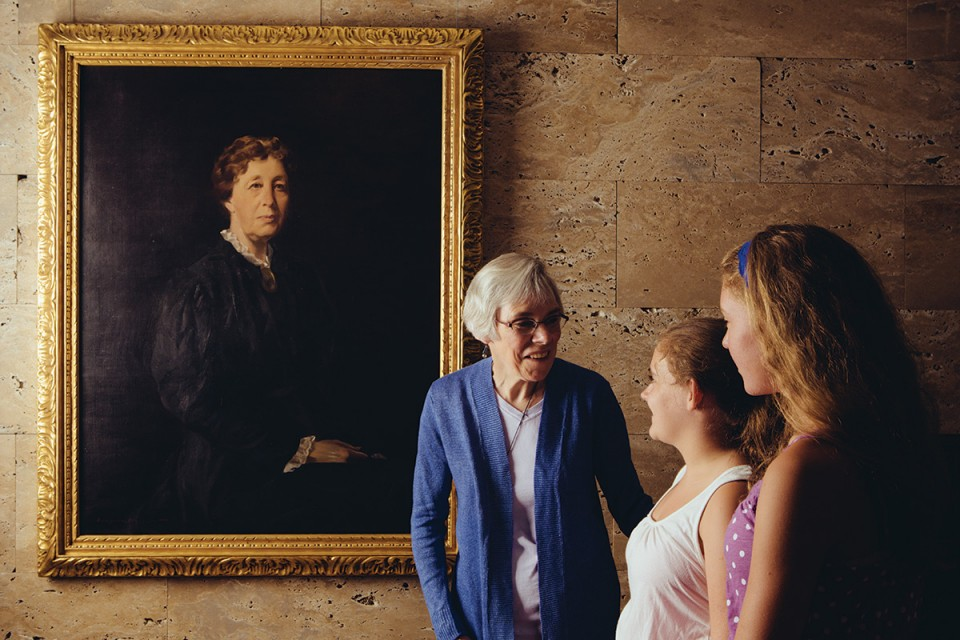 Writer Suzanne Smith Arney with granddaughters Chloe and Kaitlin Smith at Joslyn Art Museum.