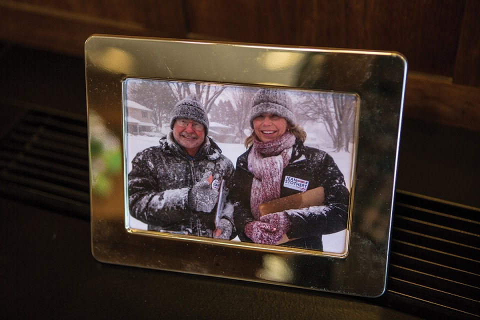 Jean and husband Joe Stothert went out in a blizzard to campaign.