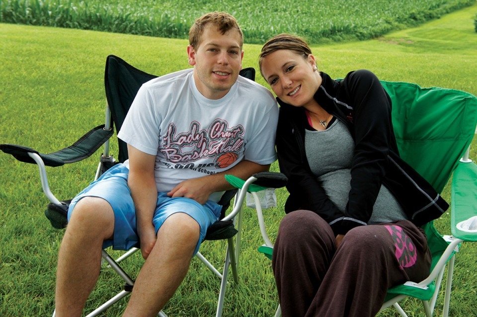 Nick and Elizabeth Bullington on a family camping trip outside the Amana Colonies in Iowa before the birth of son Reese.
