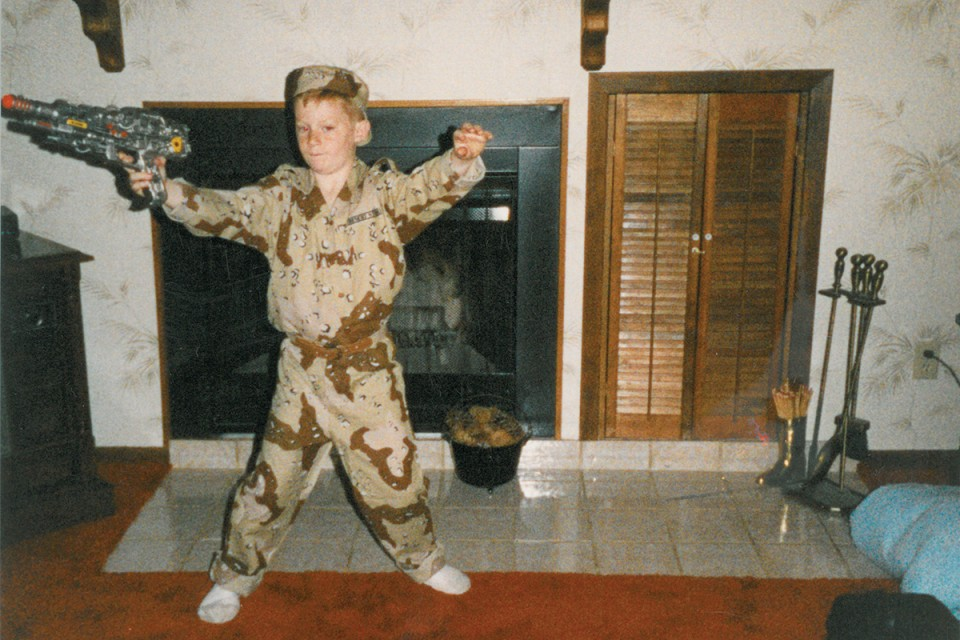 Jacob, age 7, playing soldier at his childhood home in Beatrice, Neb. Photo provided by Jacob Hausman.